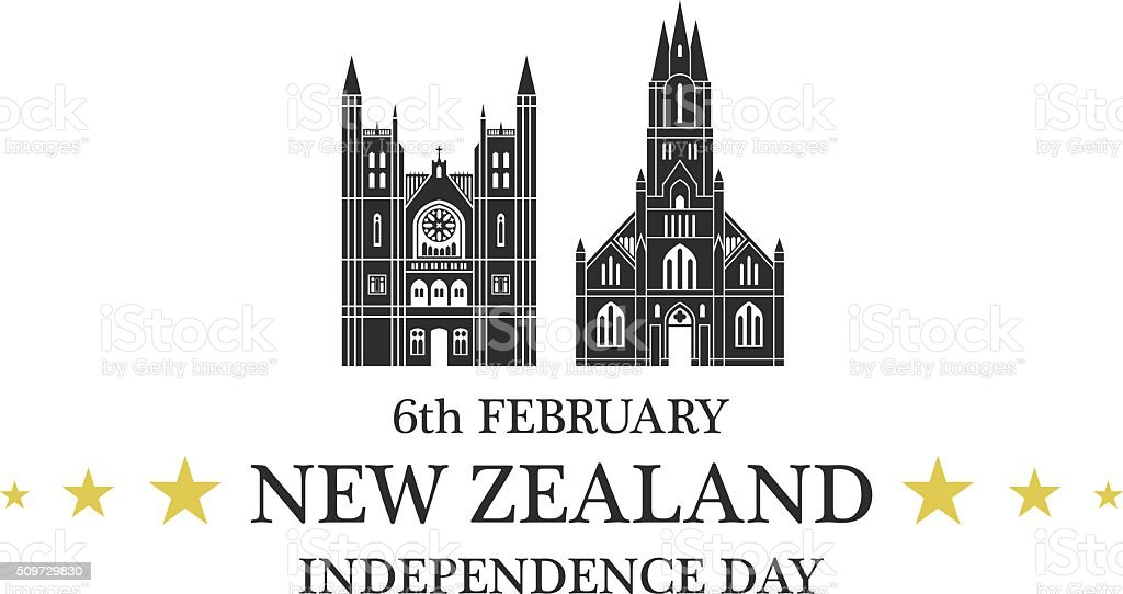 Independence Day. New Zealand vector art illustration