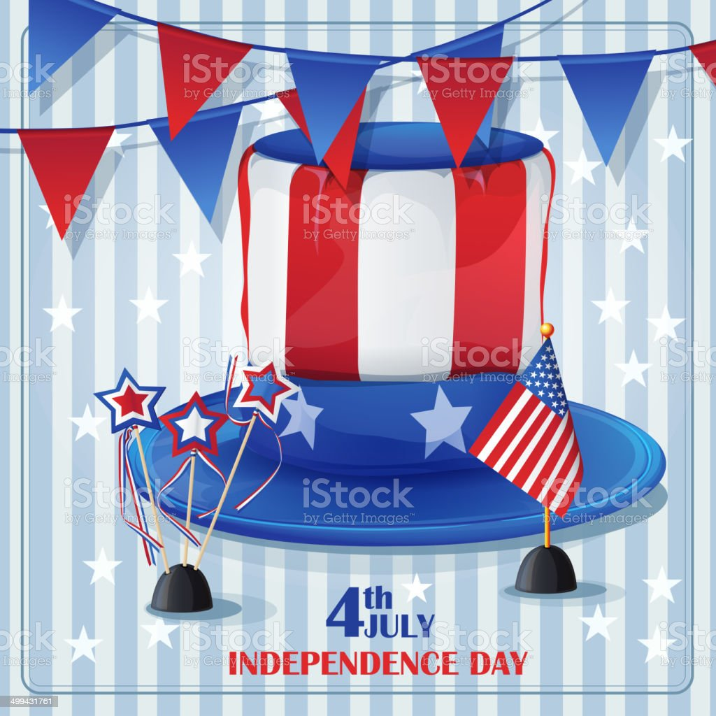 Independence Day on July 4 with flags and caps royalty-free stock vector art