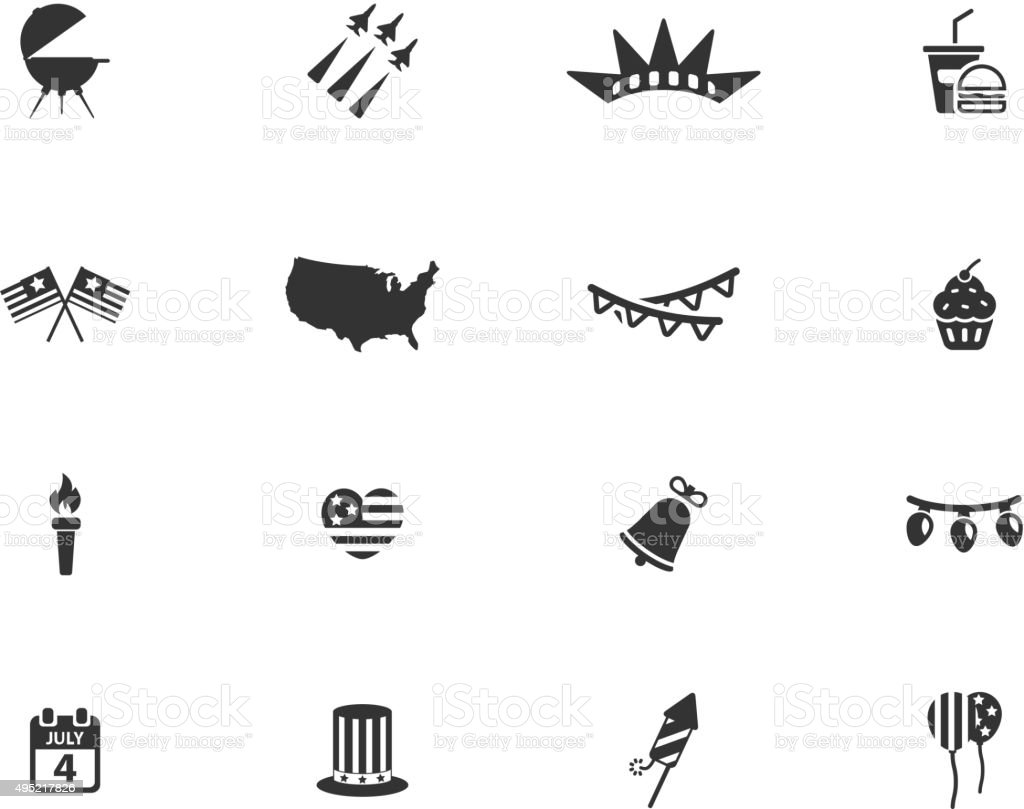 Independence day simply icons vector art illustration