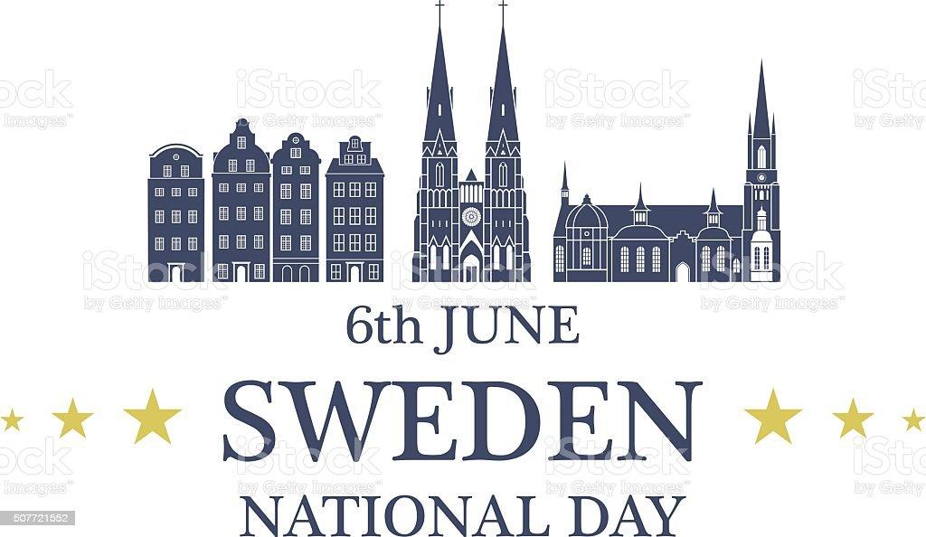 Independence Day. Sweden vector art illustration