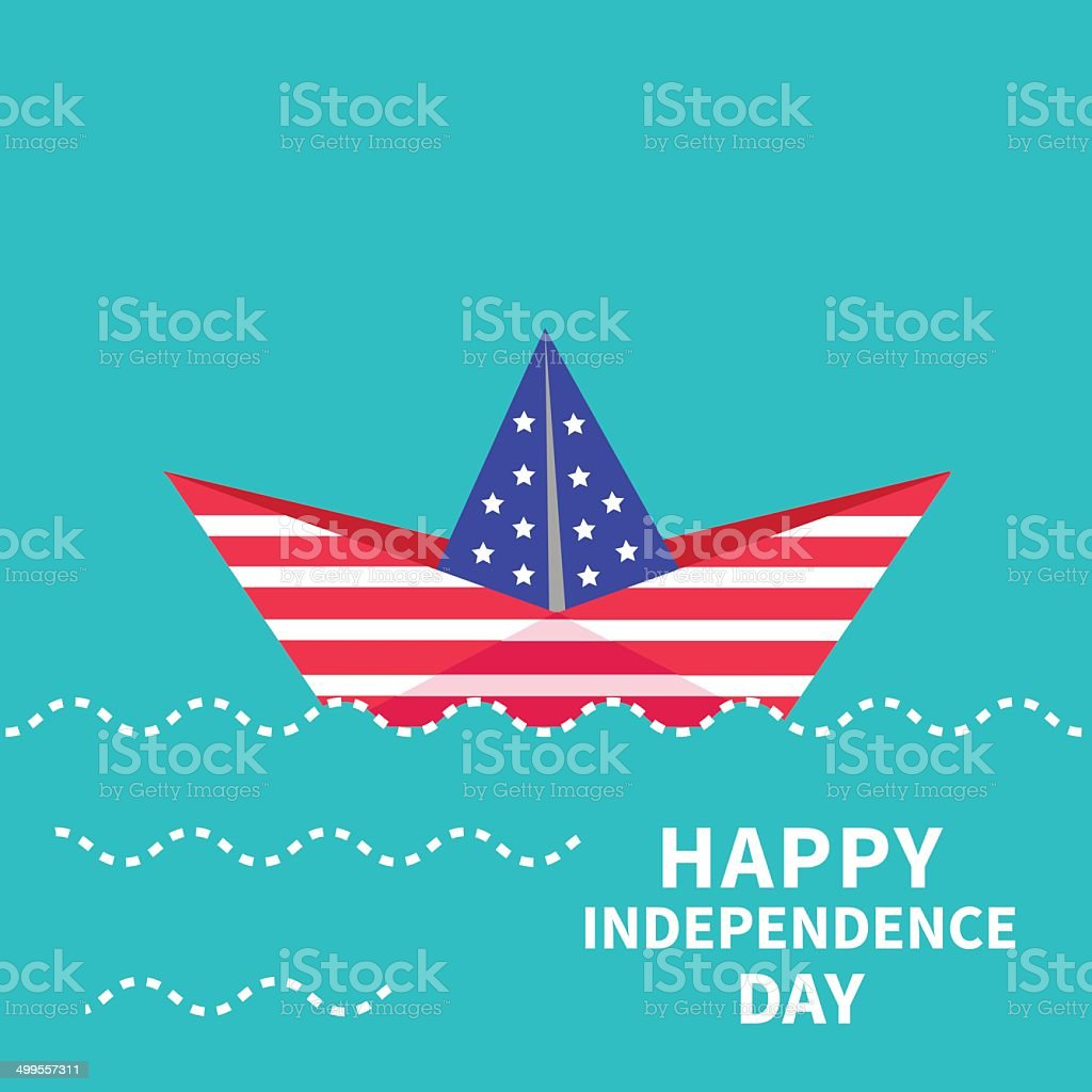 Independence day US of America. 4th of July Paper boat royalty-free stock vector art