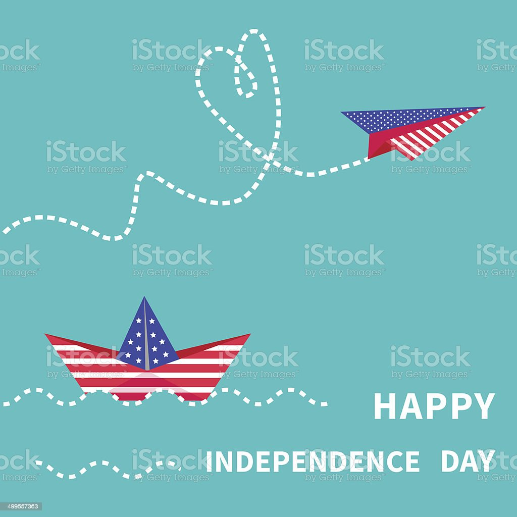 Independence day US of America Paper boat  paperplane royalty-free stock vector art