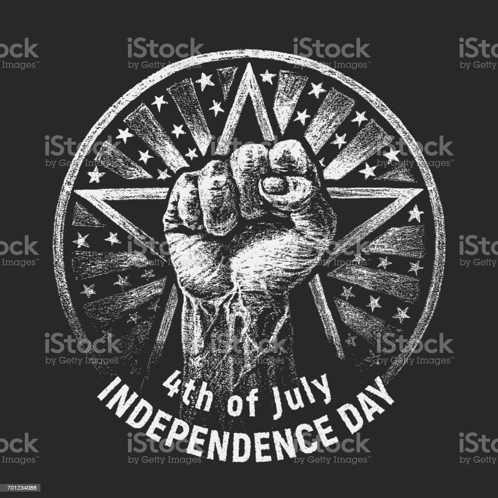 Independence day. Vector chalk drawing on textured blackboard vector art illustration