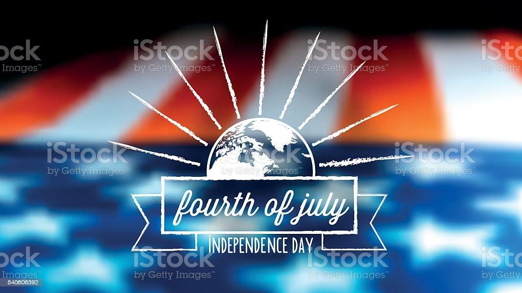 independence day vintage label on blurred us flag vector art illustration