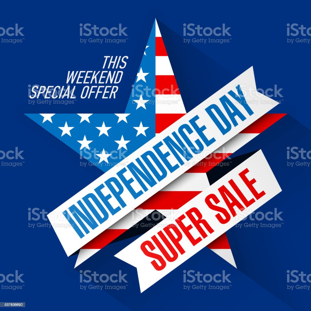 USA Independence Day Weekend Sale banner vector art illustration