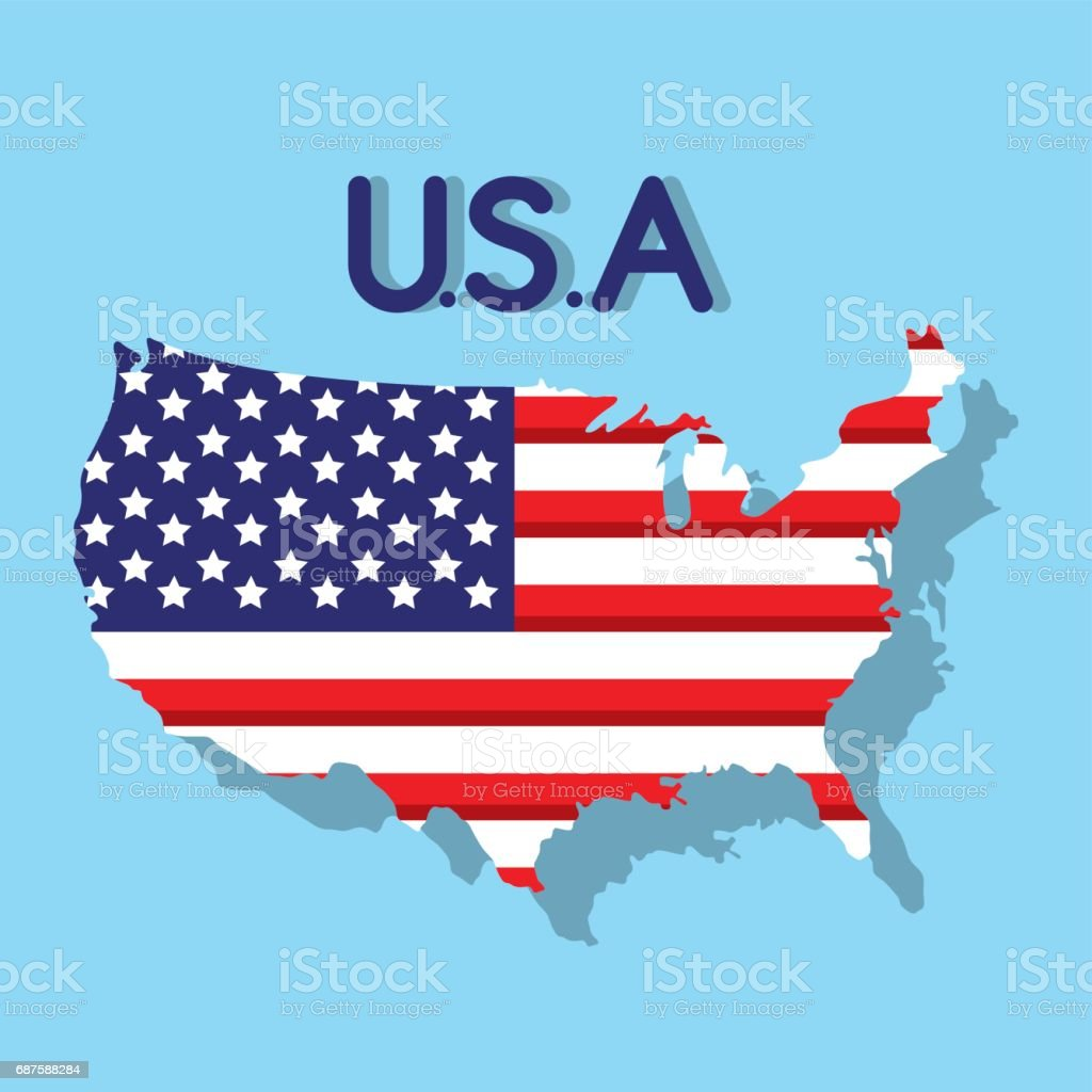 Independence Day With Flag And Map Design Stock Vector Art - Us event map design