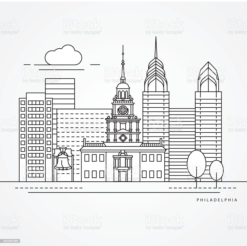 Independence Hall The symbol of Philadelphia, USA. vector art illustration