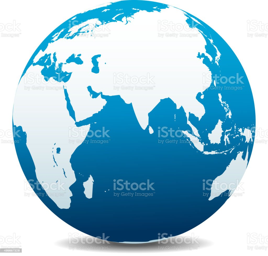 India, Africa, China, Indian Ocean, Global World vector art illustration