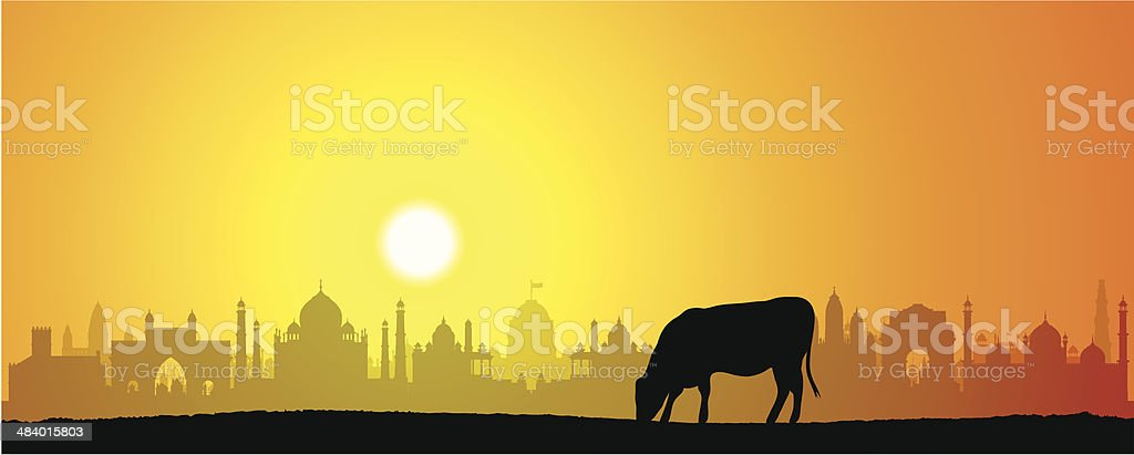 India and Cow vector art illustration