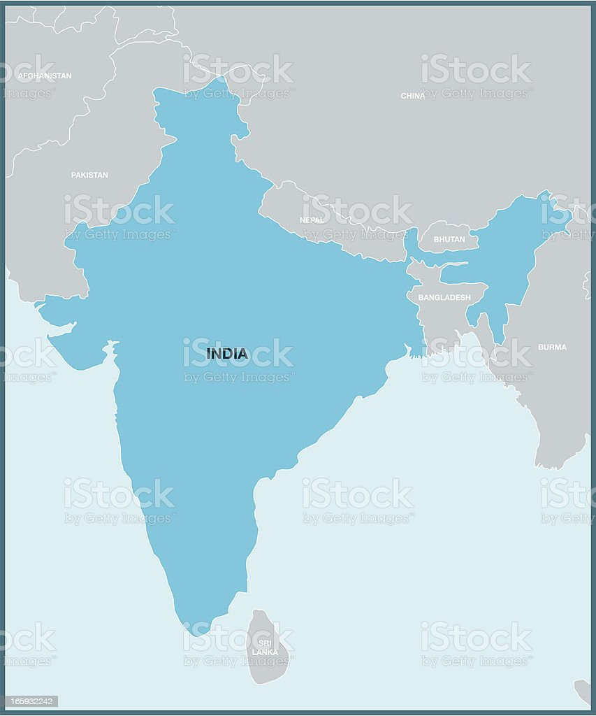 India and surroundings map royalty-free stock vector art