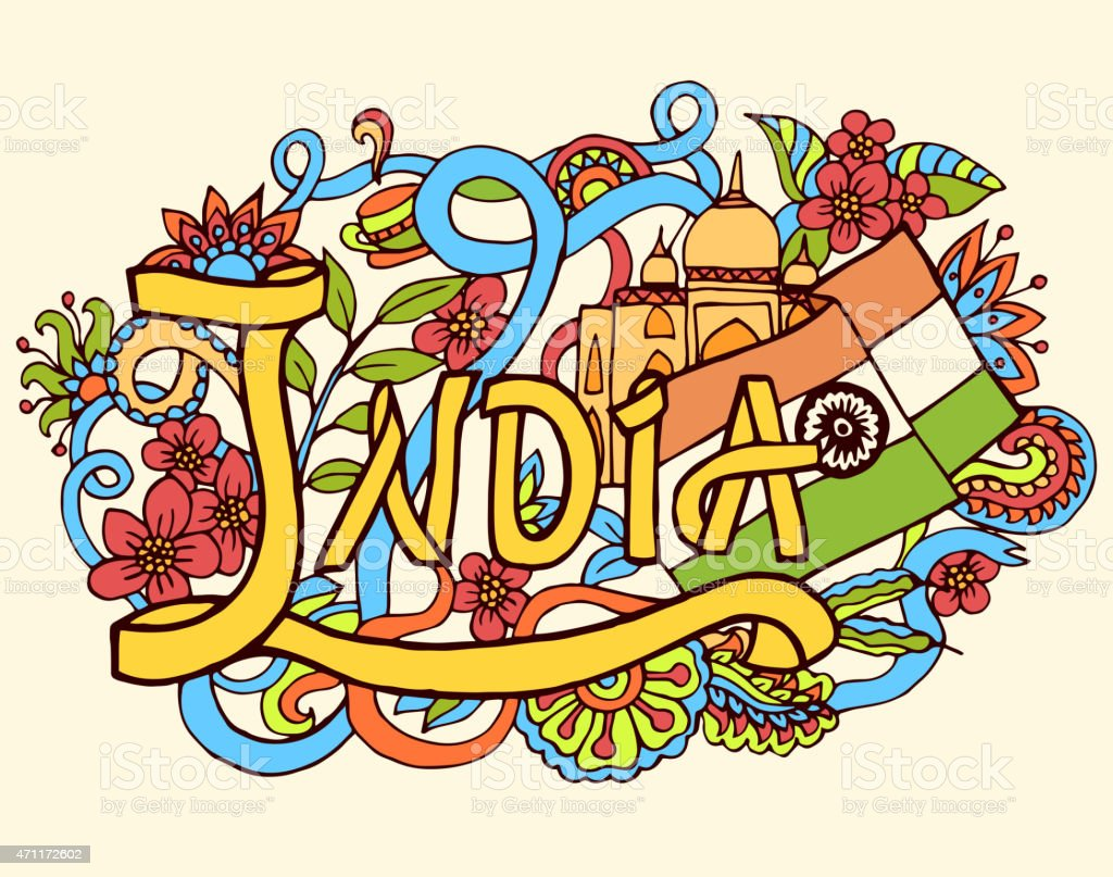 India art abstract hand lettering and doodles elements background vector art illustration