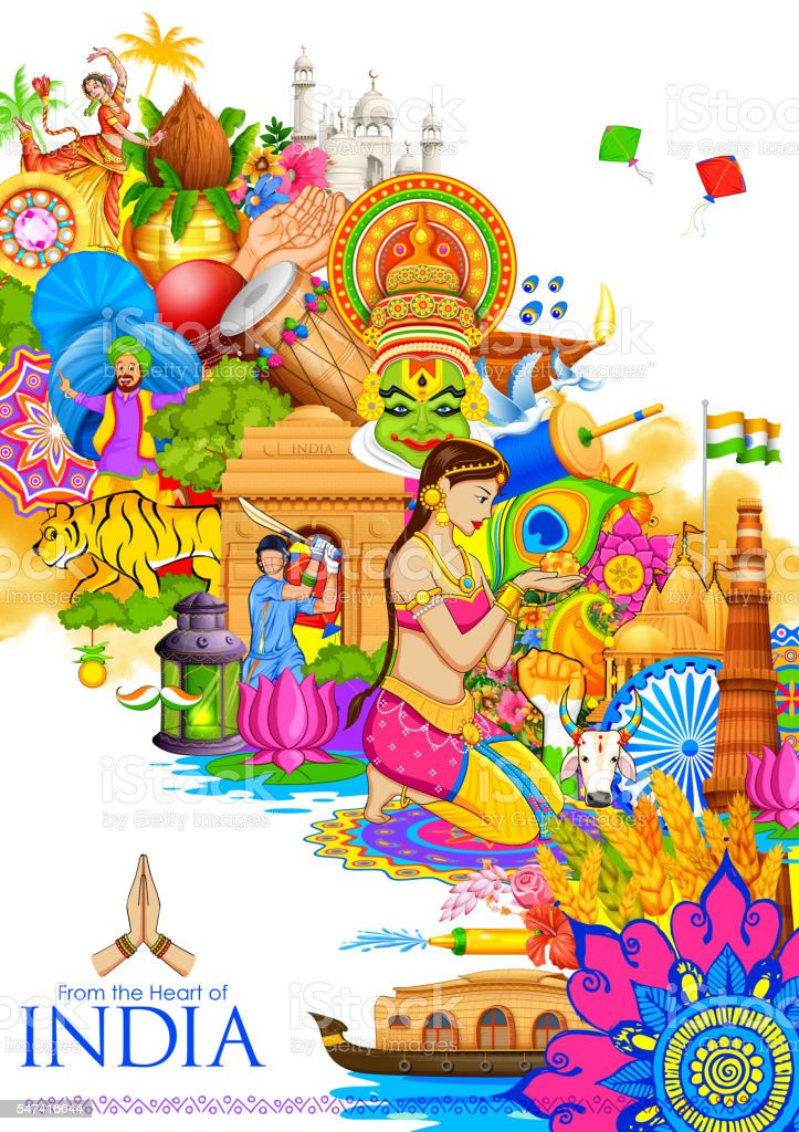 India background showing its culture and diversity vector art illustration