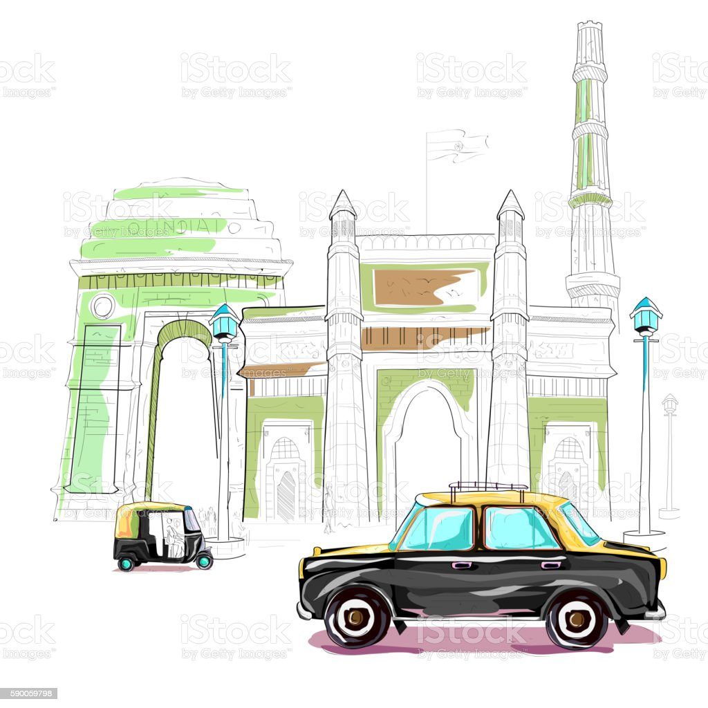 India cityscape background vector art illustration