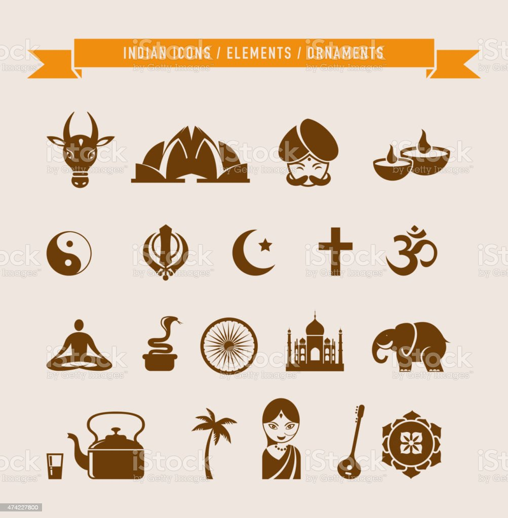 India - collection of icons and elements vector art illustration