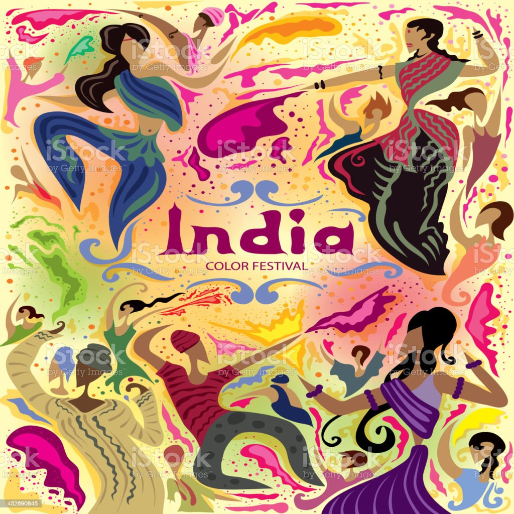 India color festival vector art illustration
