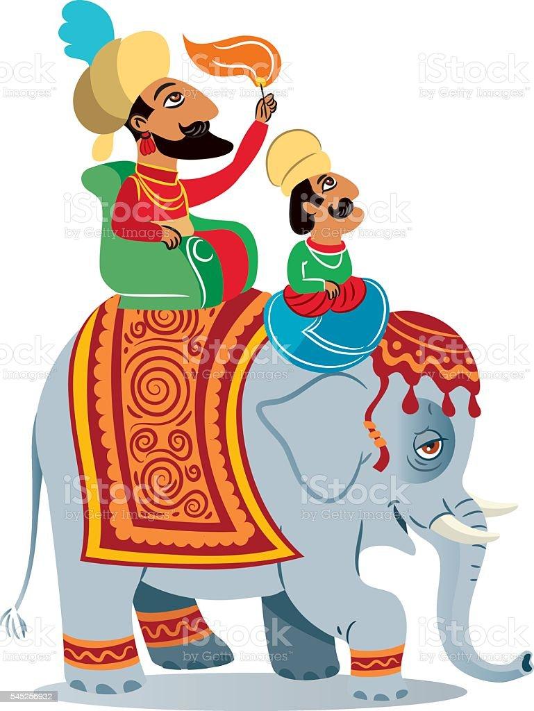 India Elephant vector art illustration