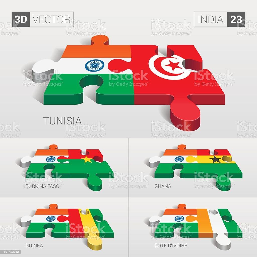 India Flag. 3d vector puzzle. Set 23. vector art illustration
