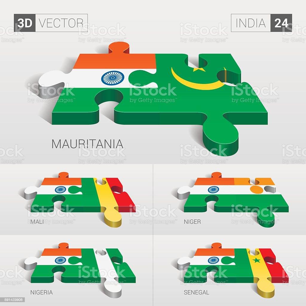 India Flag. 3d vector puzzle. Set 24. vector art illustration