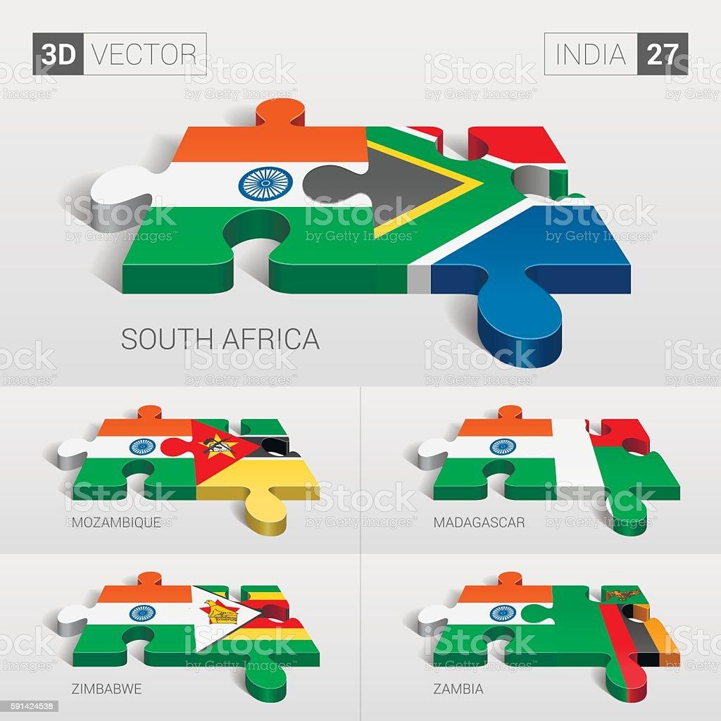 India Flag. 3d vector puzzle. Set 27. vector art illustration