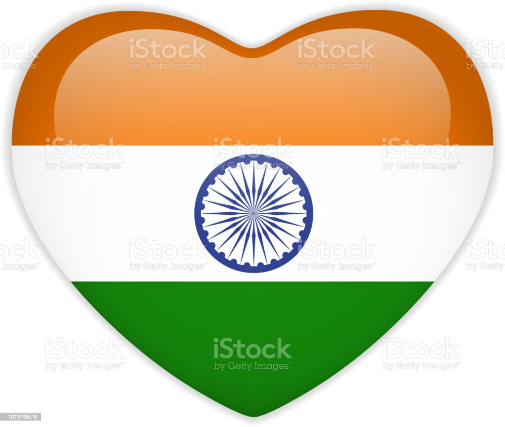 India Flag Heart Glossy Button royalty-free stock vector art