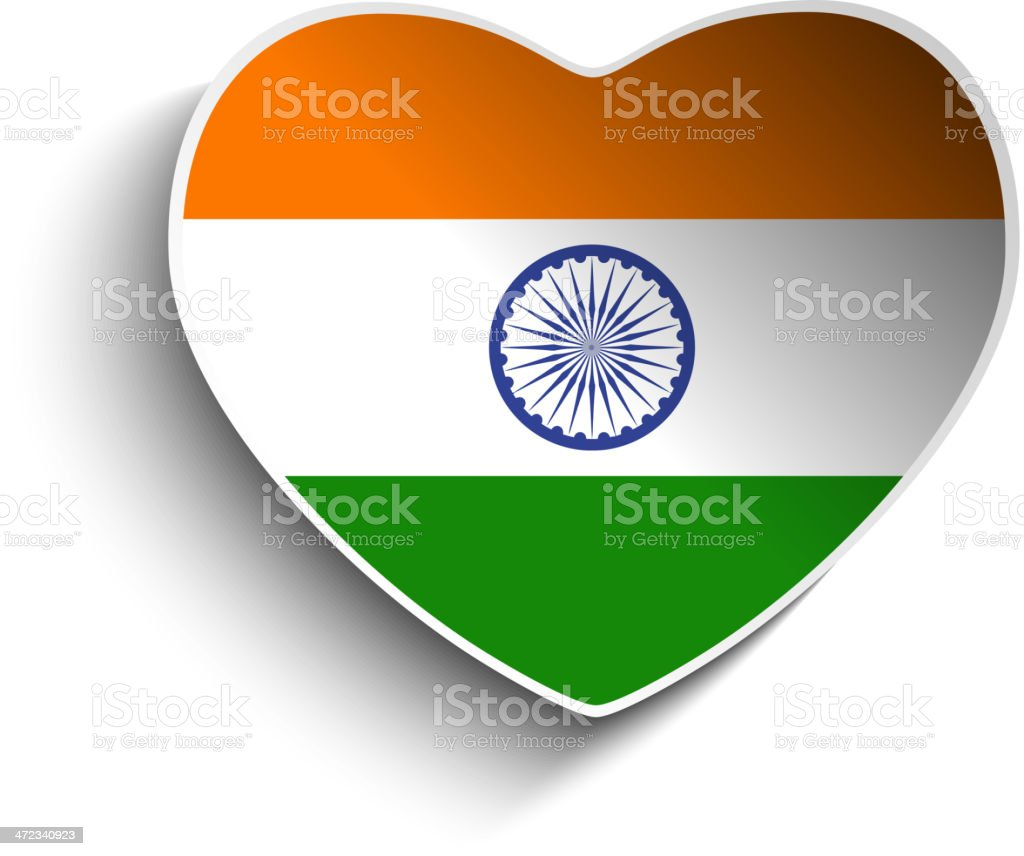 India Flag Heart Paper Button royalty-free stock vector art
