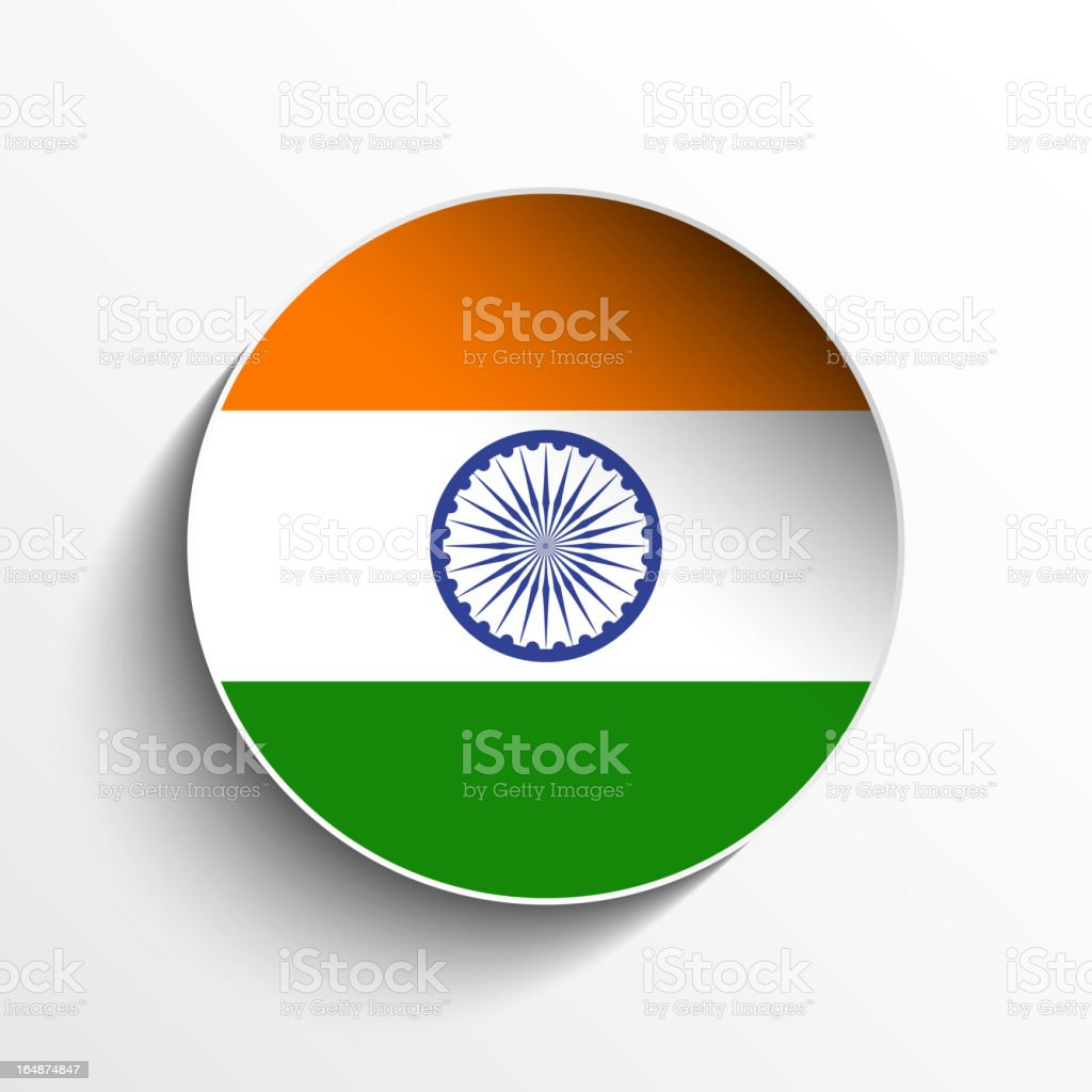 India Flag Sticker Button royalty-free stock vector art