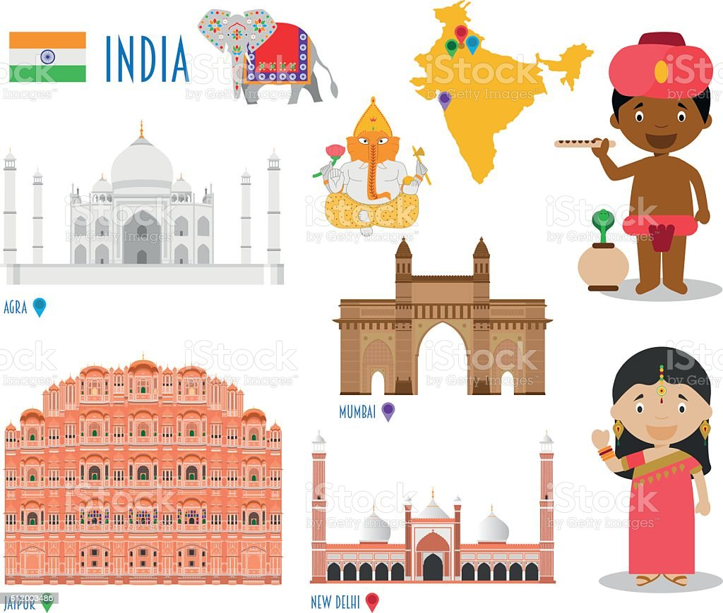India Flat Icon Set Travel and tourism concept. Vector illustration vector art illustration