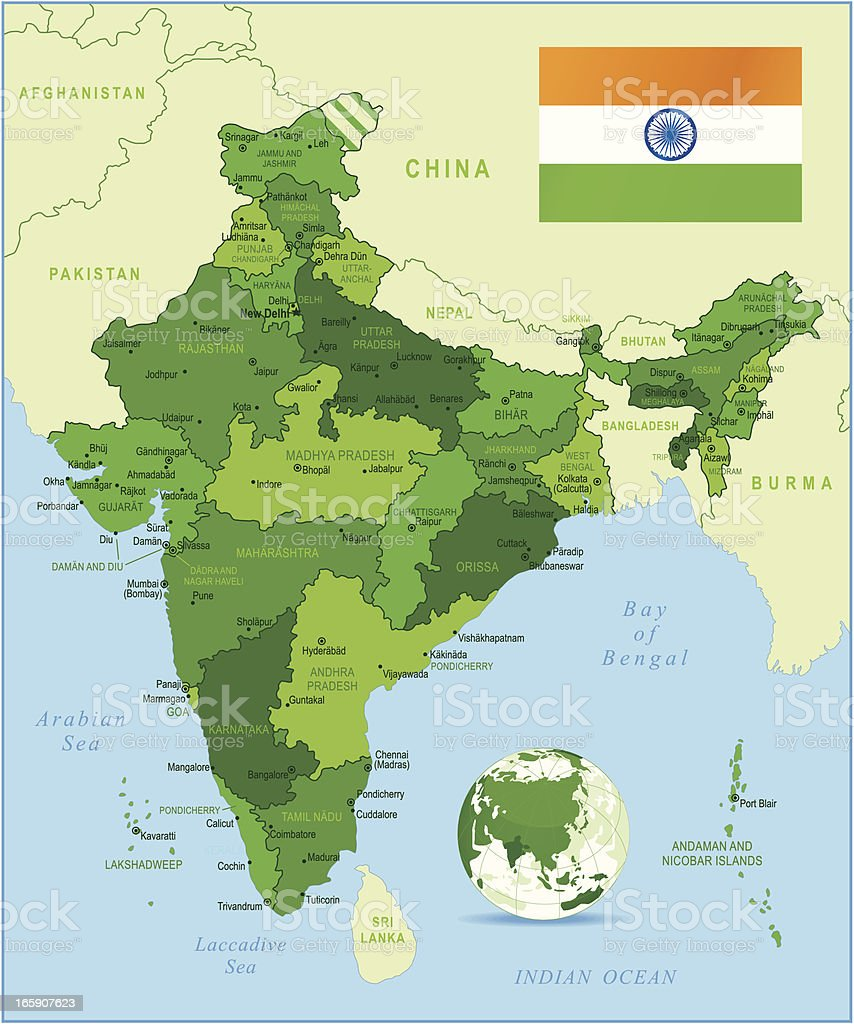 India - highly detailed green map vector art illustration
