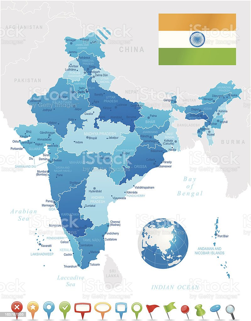 India - highly detailed map vector art illustration