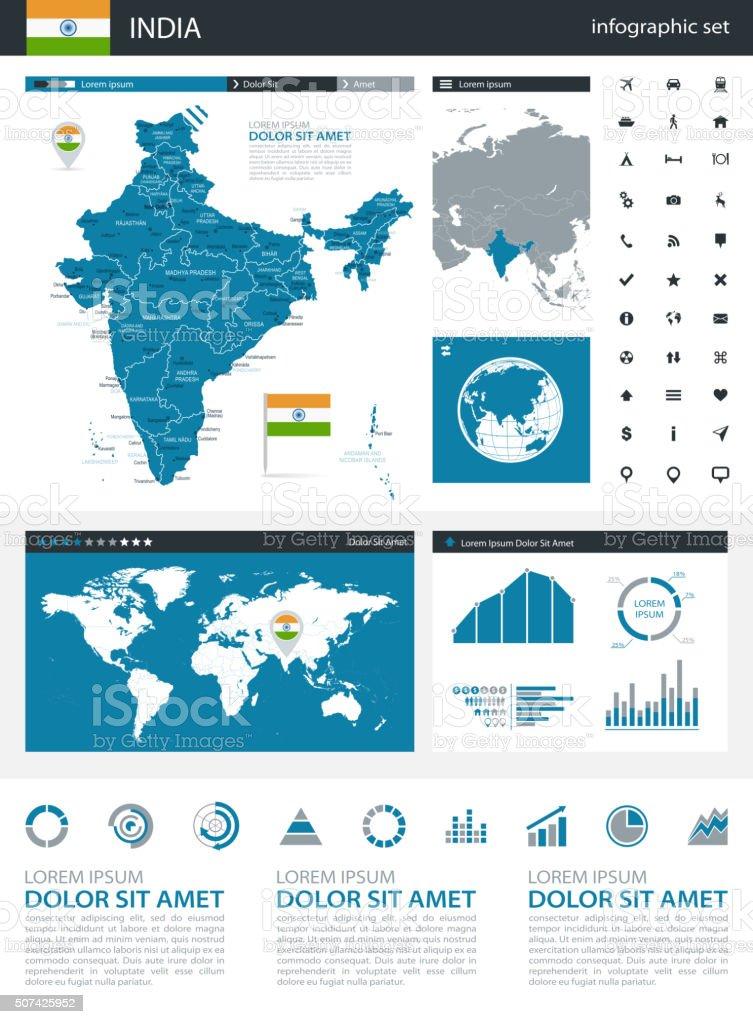 India - infographic map - Illustration vector art illustration