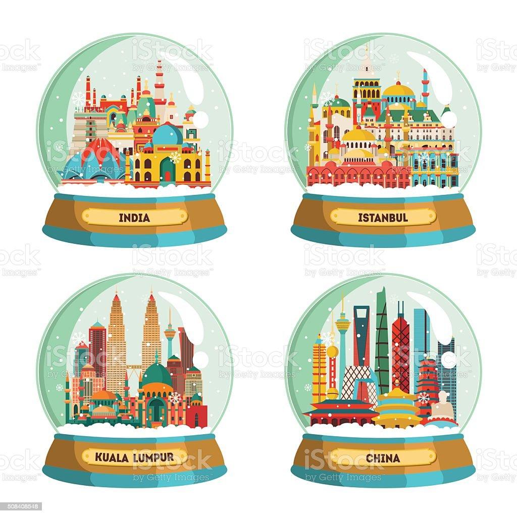 India, Istanbul, Kuala Lumpur, China. Vector illustration vector art illustration