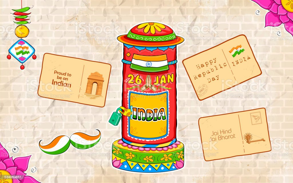 India kitsch style post box and letter vector art illustration