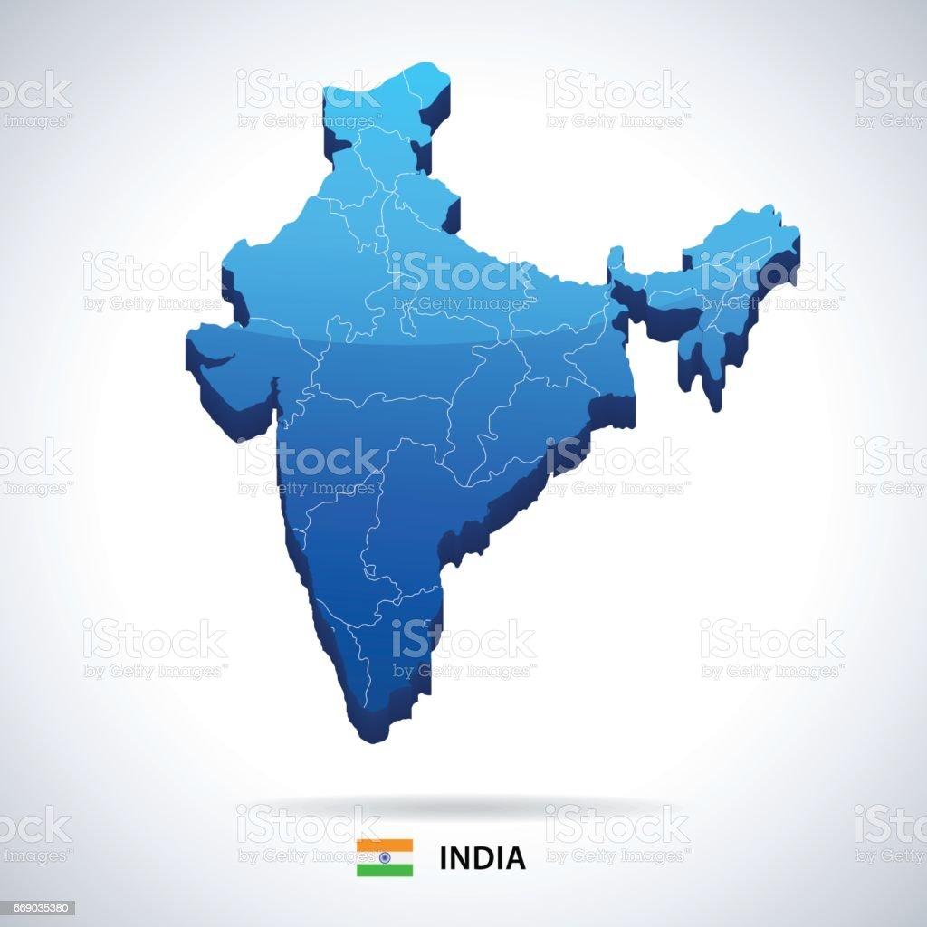 12 - India map - 3D 10 vector art illustration