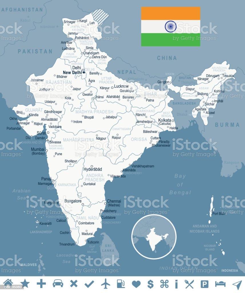 India - map and flag – illustration vector art illustration