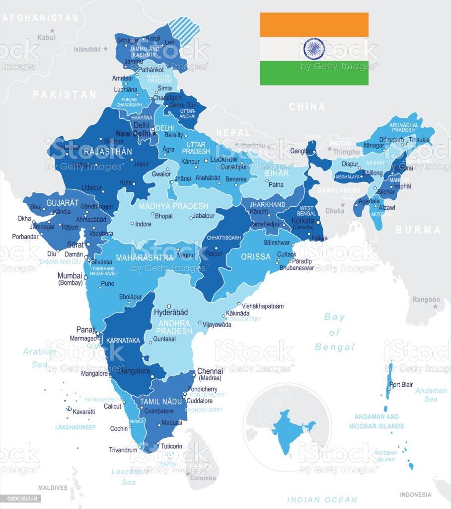 01 - India map - Blue Spot 10 vector art illustration