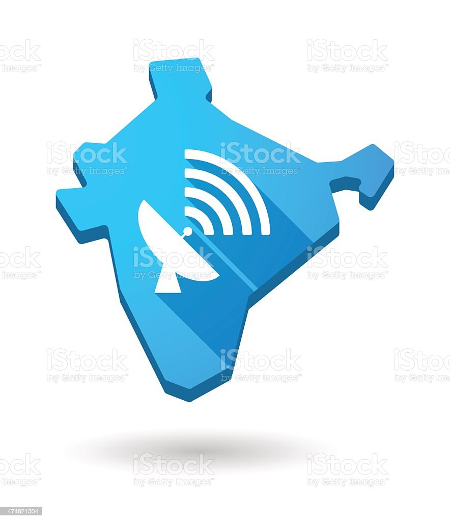 India map icon with an antenna vector art illustration
