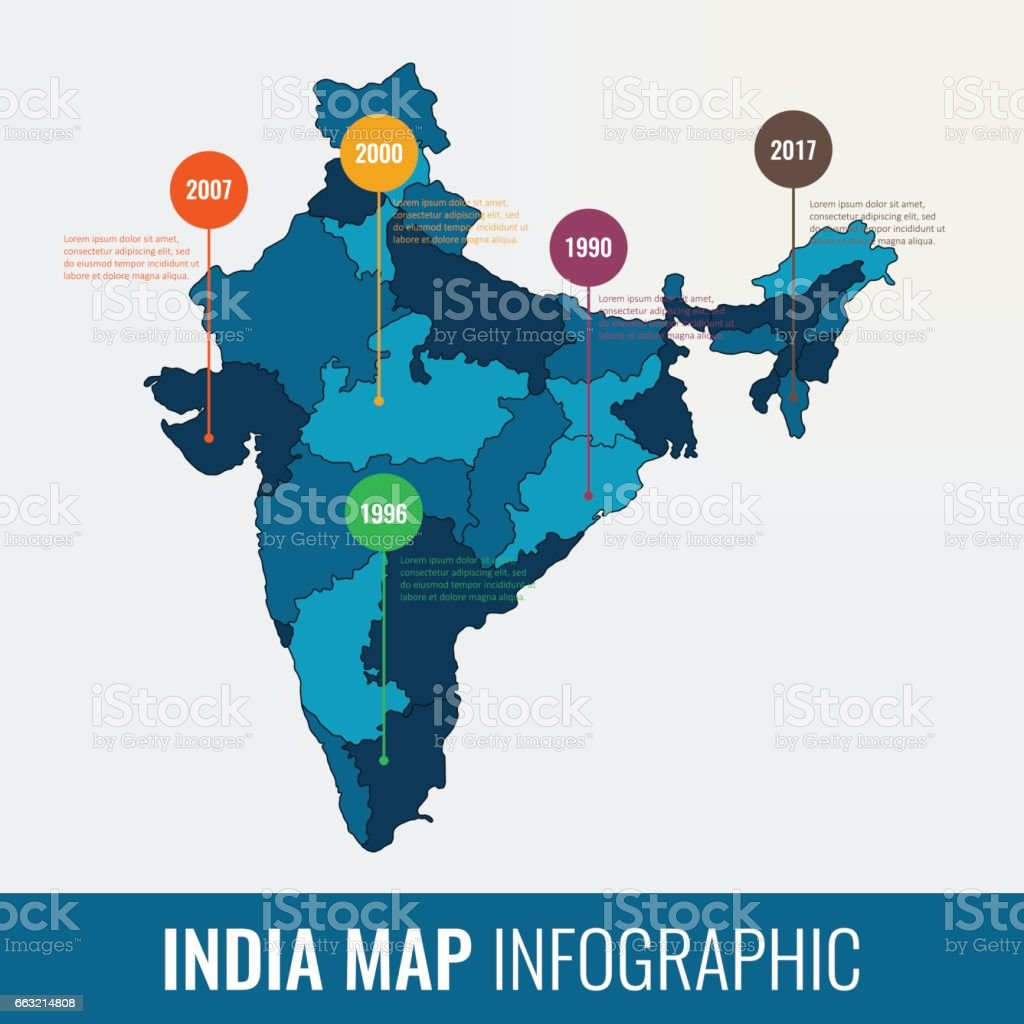 India map infographic template. All regions are selectable. Vector vector art illustration