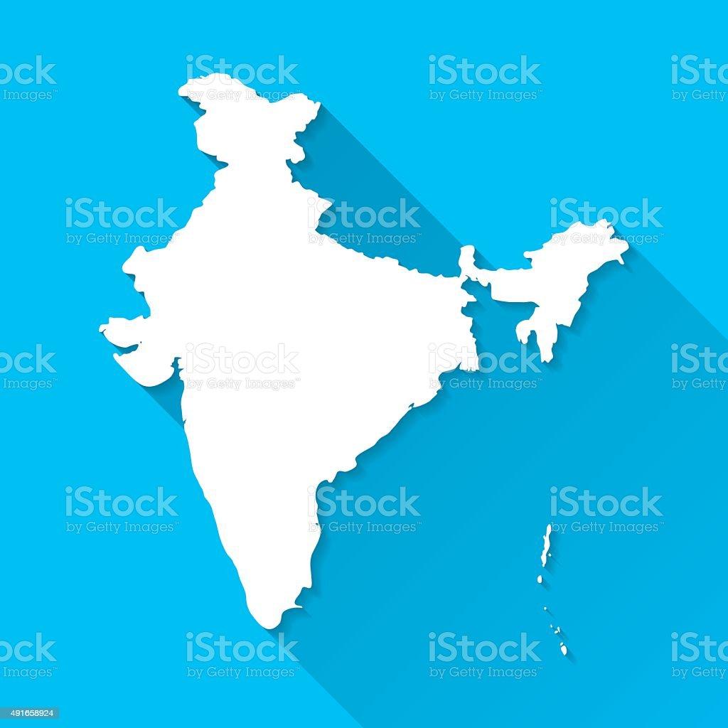 India Map on Blue Background, Long Shadow, Flat Design vector art illustration