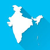 India Map on Blue Background, Long Shadow, Flat Design
