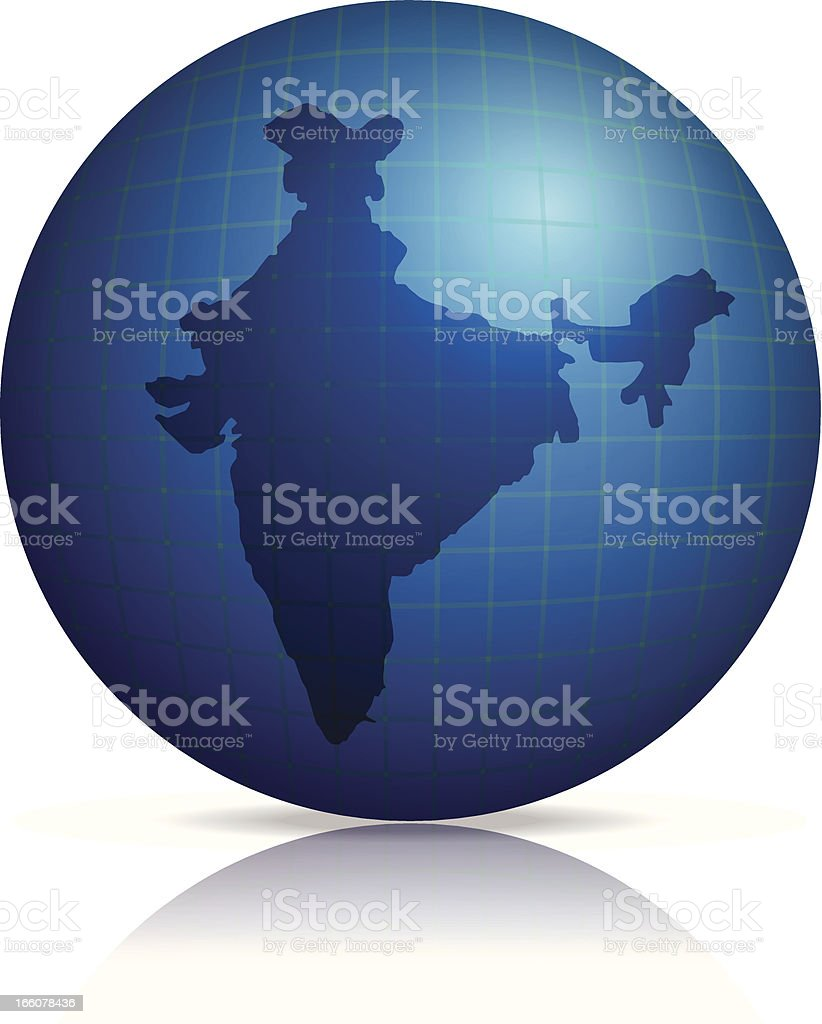 India Map on globe with shadow and reflection royalty-free stock vector art