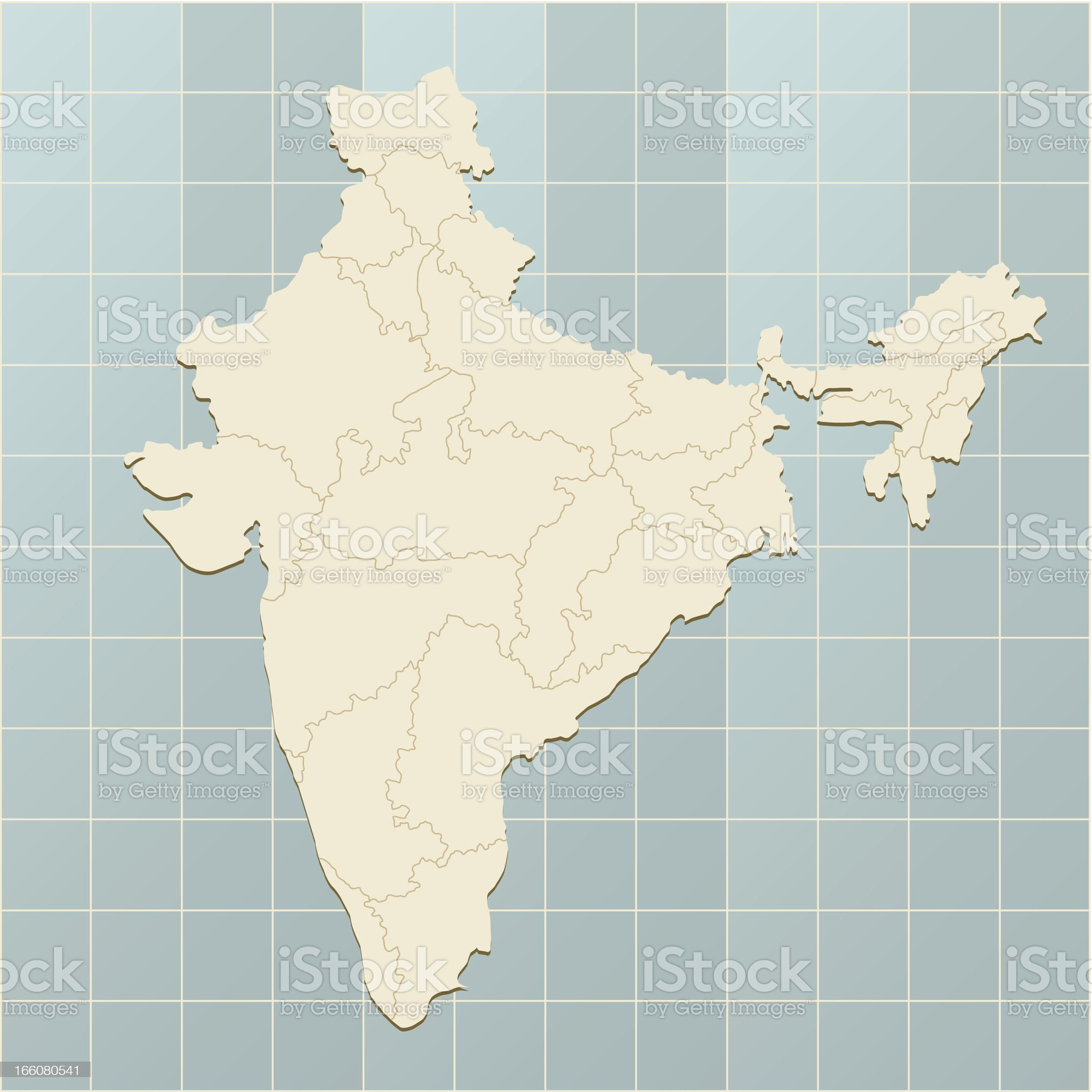 India map on grid royalty-free stock vector art