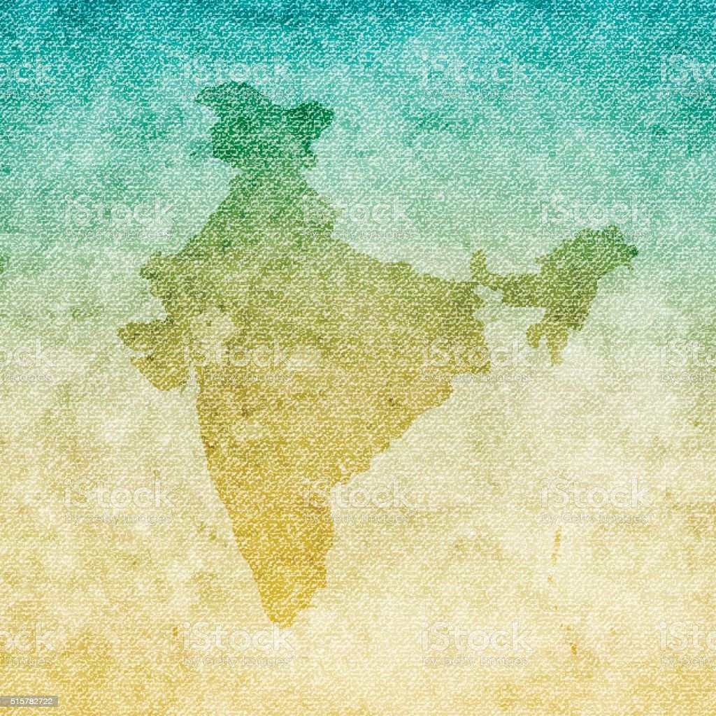 India Map on grunge Canvas Background vector art illustration