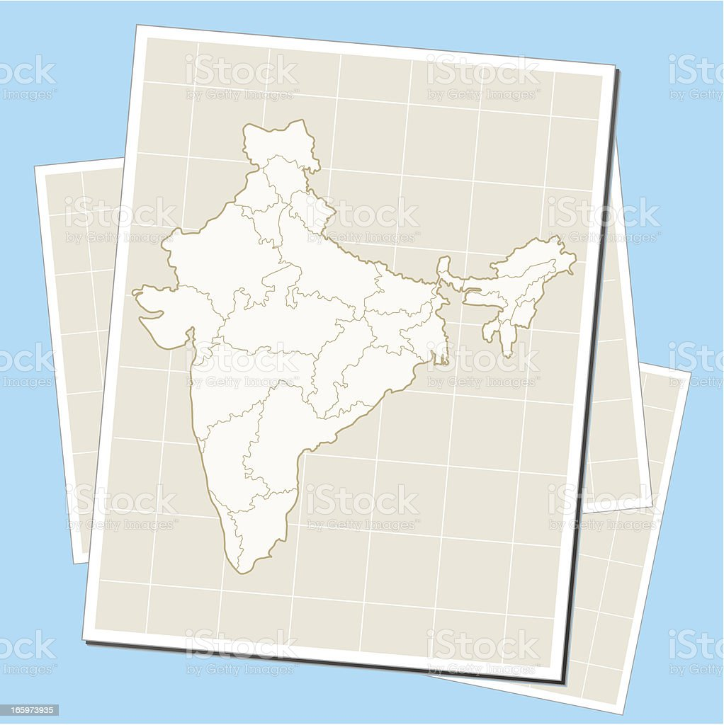 India map on paper royalty-free stock vector art