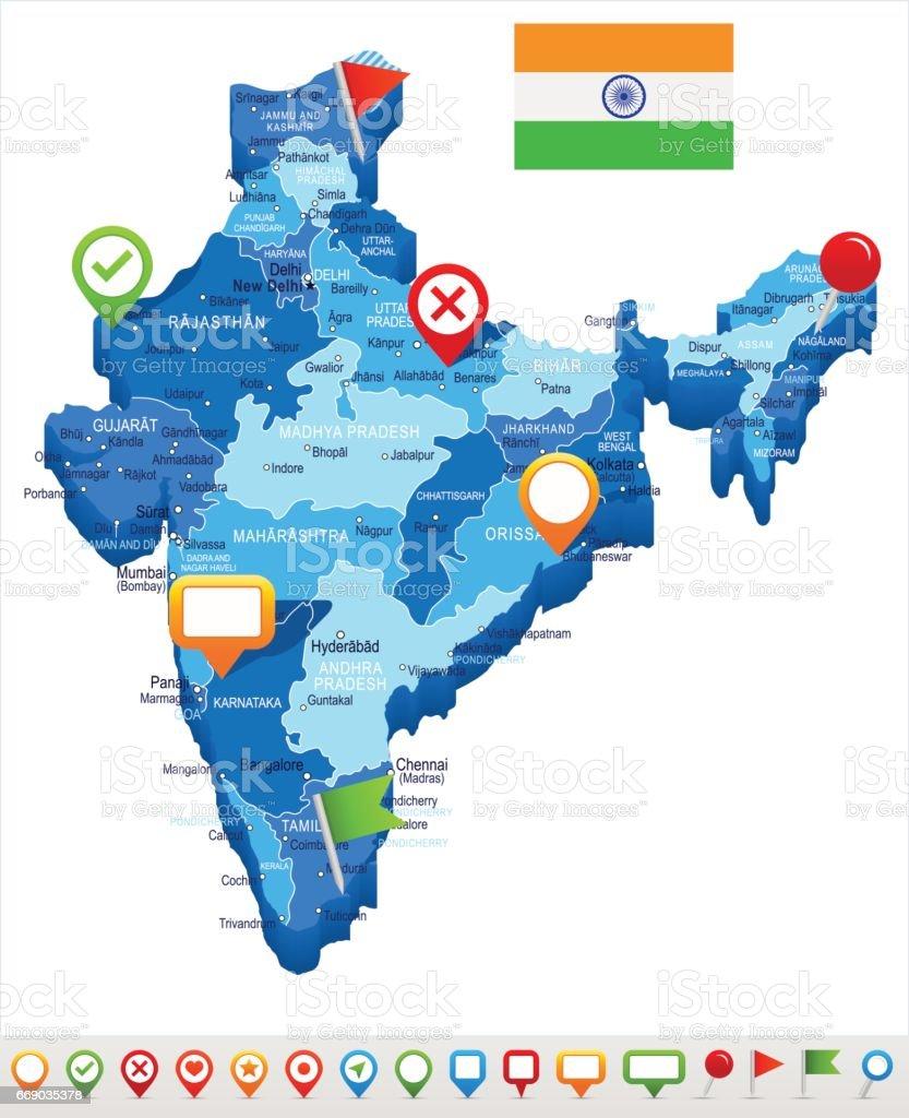 10 - India map - Spot 3D 10 vector art illustration