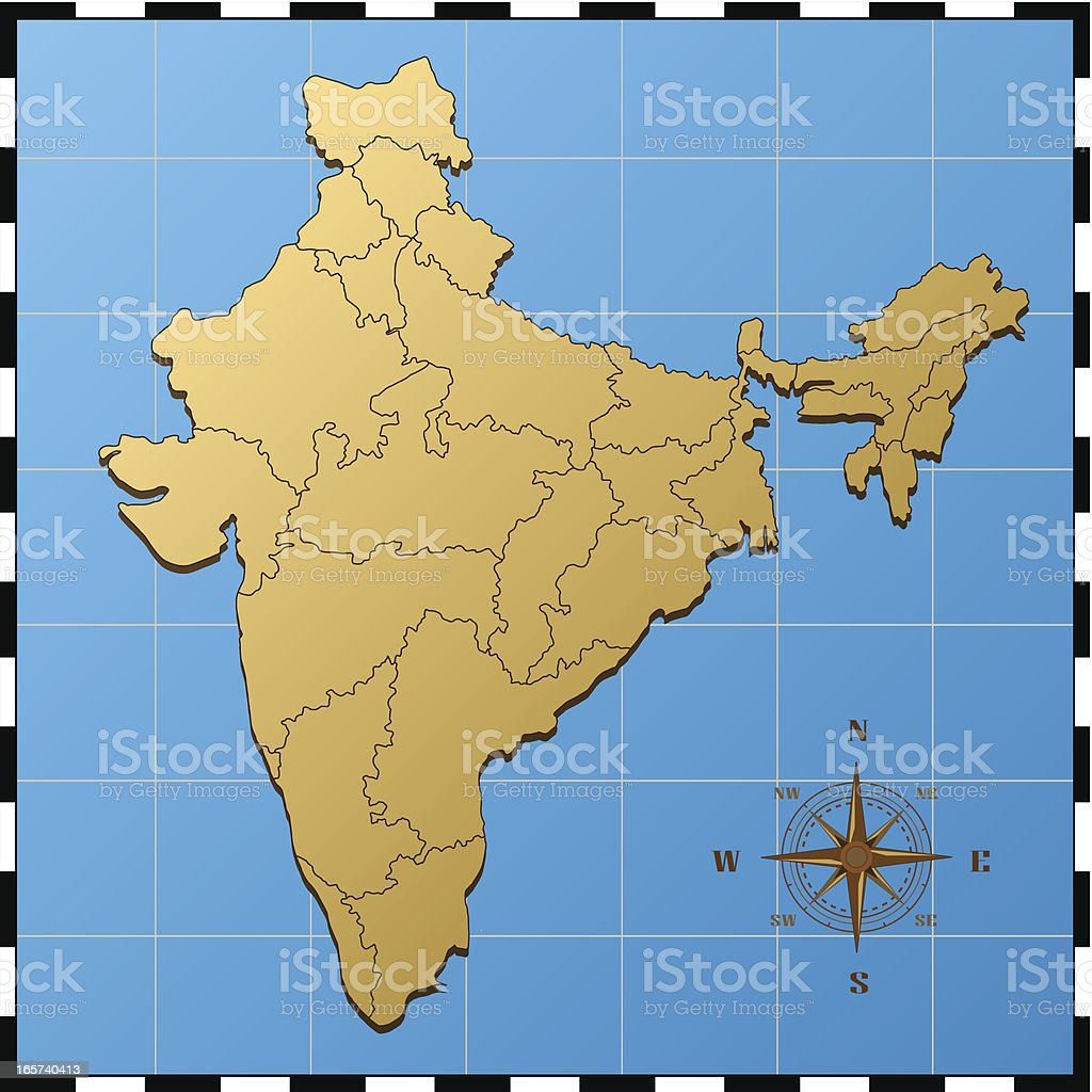 india map with pass rose stock vector art istock