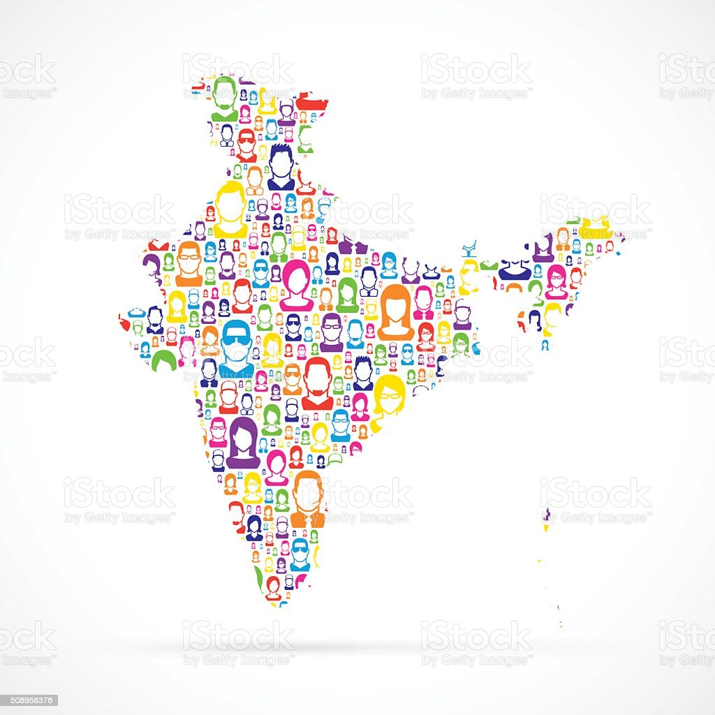 India Map with People vector art illustration