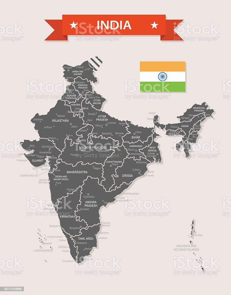India - old-fashioned map - Illustration vector art illustration