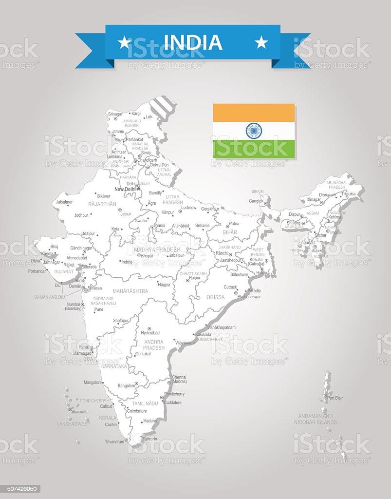 India - old-fashioned map - Illustration vector art illustration