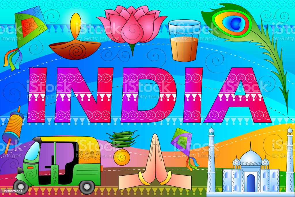 India patriotic background showing diverse Culture and Art vector art illustration