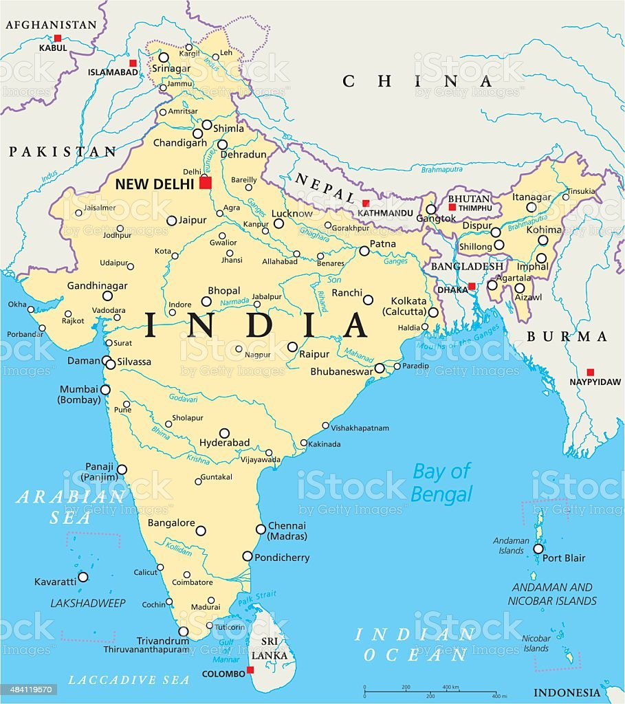 India Political Map vector art illustration